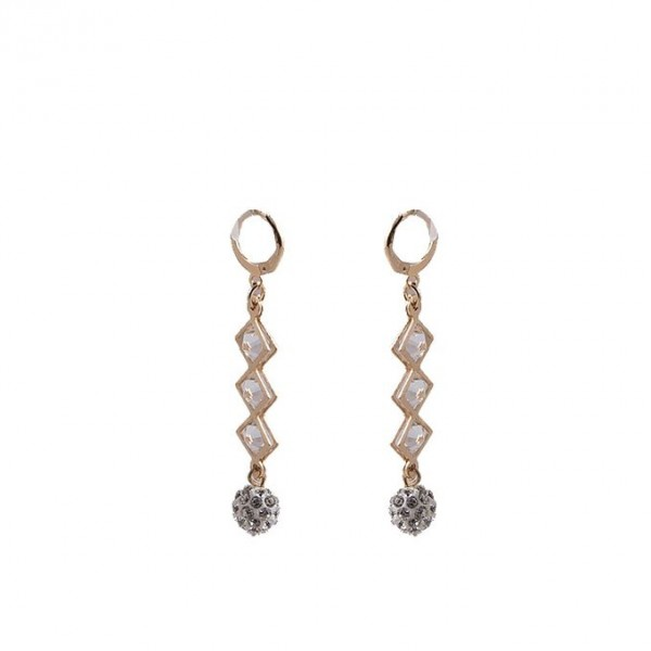 Golden Plated Zirconic Ball Earrings for Women - J-099