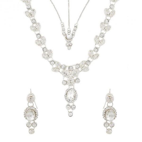 Silver Rodium - Zircon Necklace Set