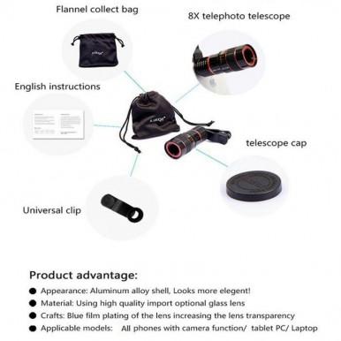 Universal 18X Mobile Phone Clip Lens