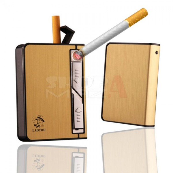 Cigarette Case with USB Rechargeable Lighter