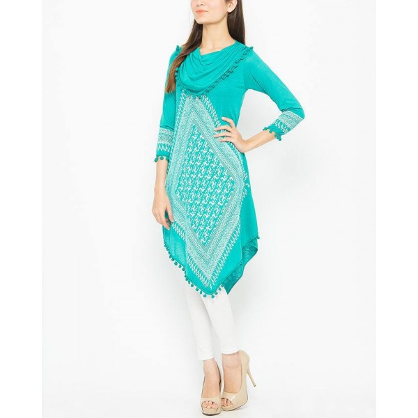 Green Printed Top For Women