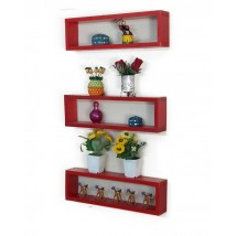 Set Of Three Pieces Wall Hanging Shelf in RED Color