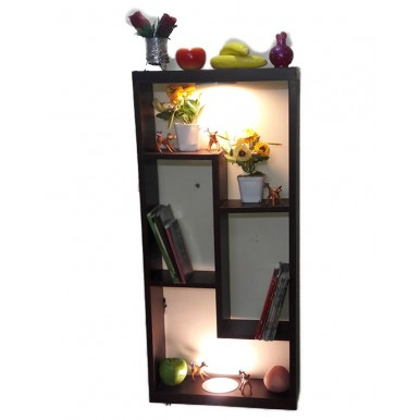 Wall Hanging Dark Brown With Warm Lights Shelf