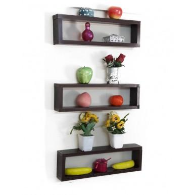 Set Of Three Pieces Wall Hanging Shelf Dark Brown