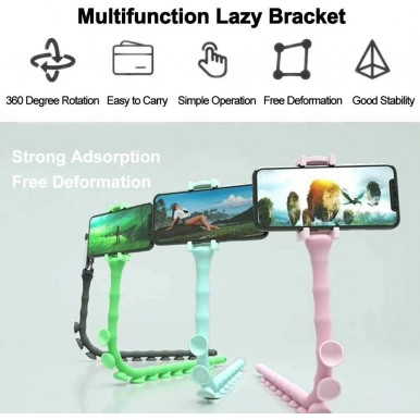 360 Degree Flexible Cute Worm Mobile Phone Holder for Bed Desktop Stand