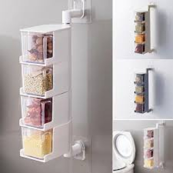4 Layer Acrylic Rotatable Wall-Mounted Seasoning Box for Spices