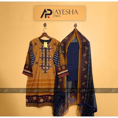 AYESHAPRET 3pcs Stitched printed Lawn Dress