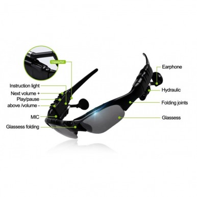 Bluetooth Wireless Specs Music mp3 headset handsfree Eyes Driving Glasses Sunglasses Riding Goggles Sports