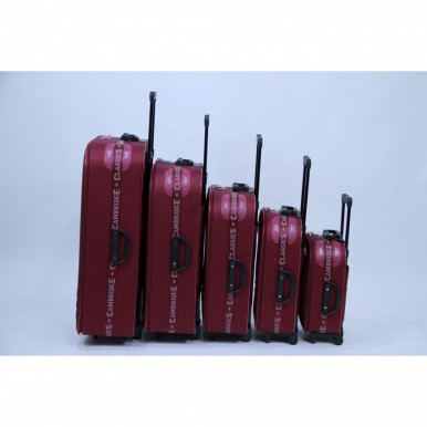 Cambridge Classic 5 Piece Luggage Set-Maroon