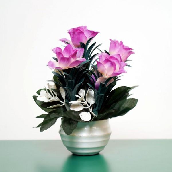 Decorative Lifelike Mini Artificial Plants In White Pots