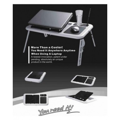 Portable Foldable Laptop Table With Cooling Fans E-Table Tray Usb Mouse Pad And Cup Holder