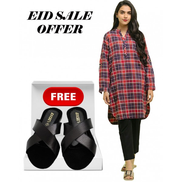 Eid Special Offer Multi Color Check Shirt And Black Stylish Slipper