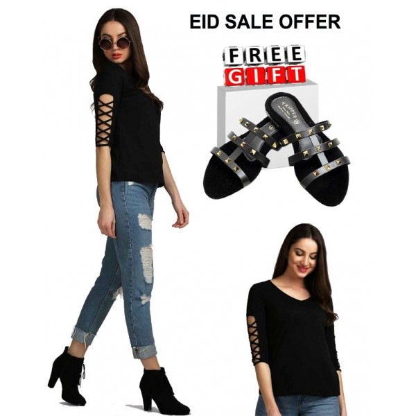EID SPECIAL OFFER BLACK SLEEVE DESIGNER TOP AND BLACK SLIPPER