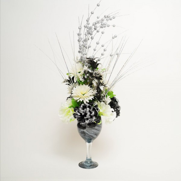 Flower Glass Vase With Artificial Plants For Decor Home Handmade Modern Flower Vases For Centerpieces Living Room Kitchen Office