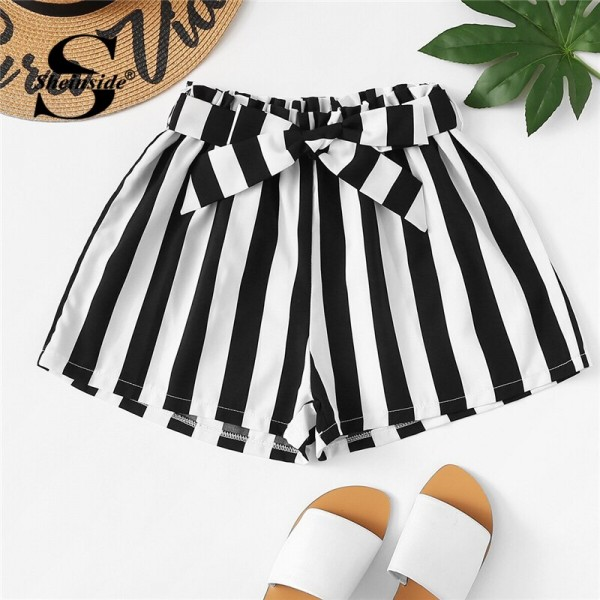 Frill Trim Striped Wide Leg Shorts with Tie Belt