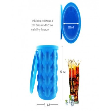Ice Bucket Ice Cube Moulds Space Saving (Blue)