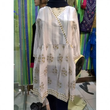 White Peplum kurti with gold print - frock for girls ALS-185