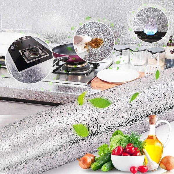 Aluminium Foil Self Adhesive Sticker Roll/ Heat Resistant Oil Waterproof Aluminium Sheet/ Backslash Aluminium Sticker for Kitchen