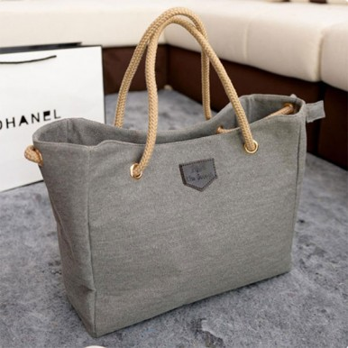 Grey Large Capacity Shopping Hand Bag For Women