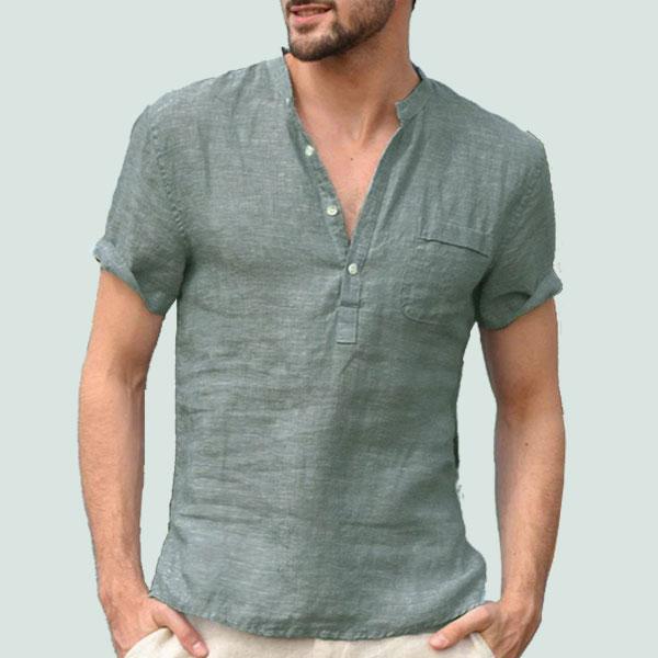 Men's Turtle Neck summer short sleeve shirt