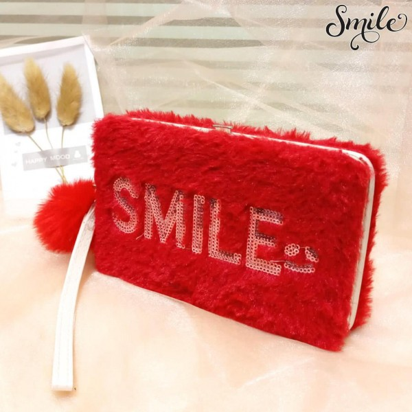 New File Style Furr Smiley Mobile Clucthes