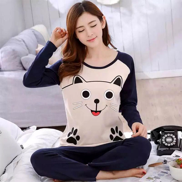 Cute kitty Printed Night Suit Blue