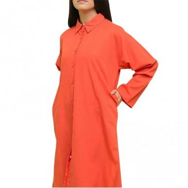 ORANGE COLOR CORAL LONG SHIRT FOR WOMEN