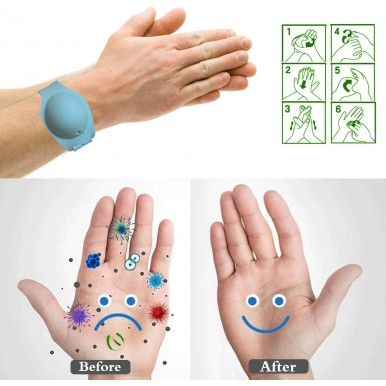 Pack Of 3 Portable Silicone Bracelet Band Portable Soap Dispenser Hand wash Gel Wristband
