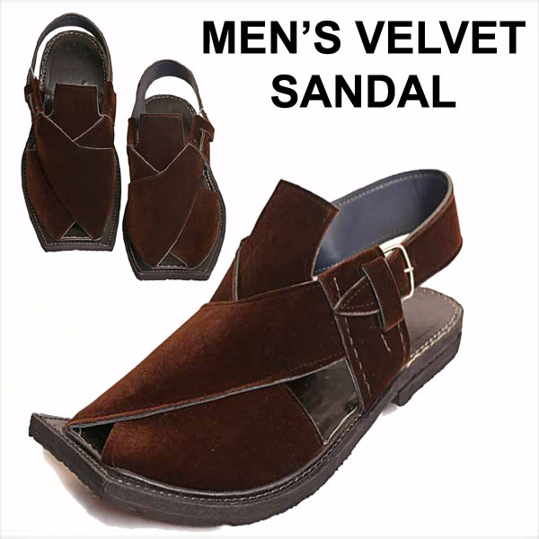 MENS  VELVET BROWN SANDAL QBH-056
