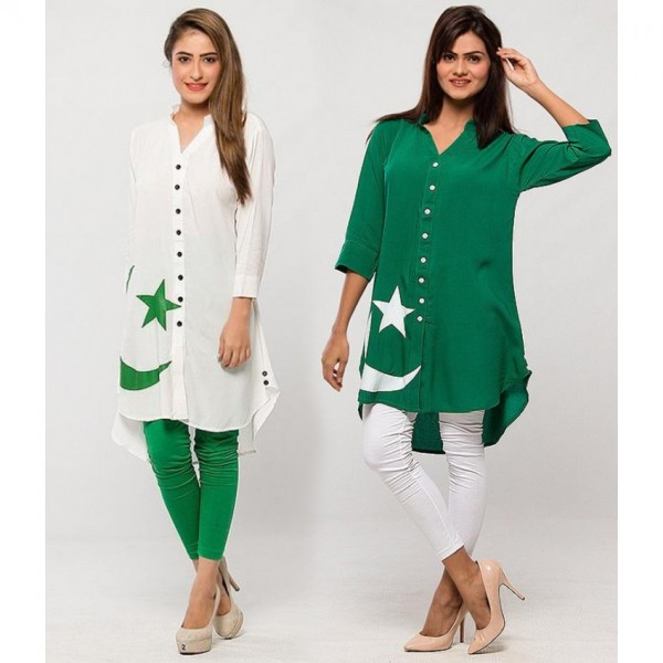 Womens Pack Of 2 Linen Flag Printed Kurti With Tights S-017