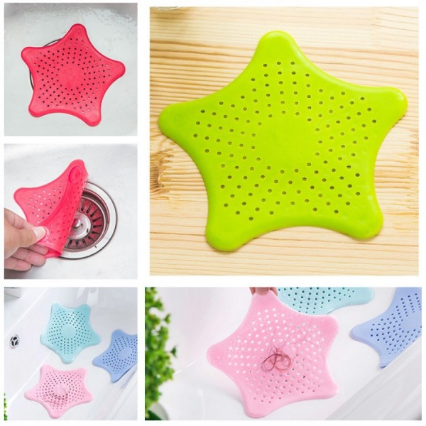 Silicone Rubber Five-pointed Star Sink Filter Sea Star Drain Cover Sink Strainer Leakage Filter for Kitchen and Bathroom 5 pcs pack