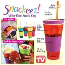 Snackeez Travel Cup Snack drink In One Container Lid Straw Kids Snack bottle
