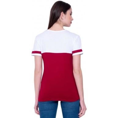Solid Women Round Neck White MaroonT-Shirt