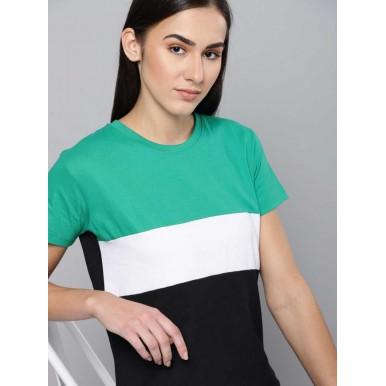 Striped Women Green White T-Shirt