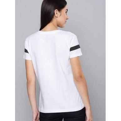 Striped Women Round Neck White, Black T-Shirt