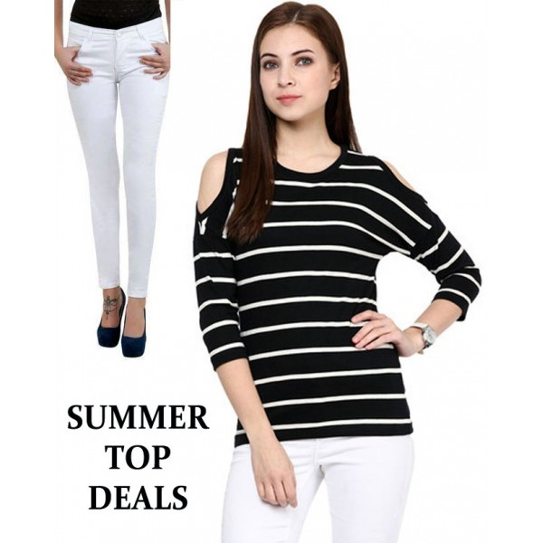 Summer Top Deal Cold Shoulder Top And Slim Fit Jeans