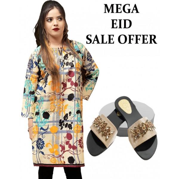 Mega Eid Offer Flower Stitched Kurti And Slipper