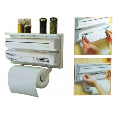 3 IN 1 KITCHEN TRIPLE PAPER DISPENSER & HOLDER PAPER FOIL CLING WRAP