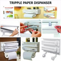 3 IN 1 KITCHEN TRIPLE PAPER DISPENSER & HOLDER PAPER FOIL CLING WRAP