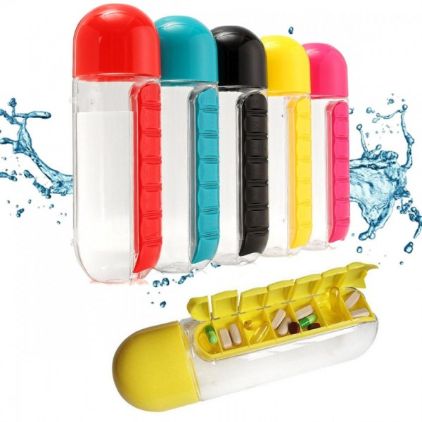 Water Bottle with Pill & Vitamin Organizer - 600ML