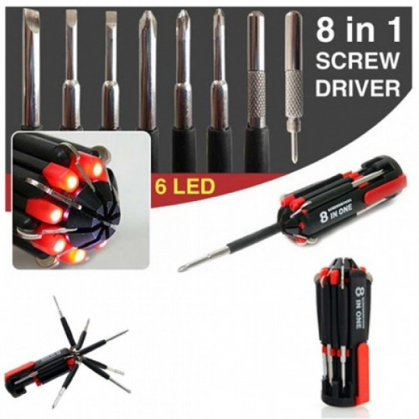 8 in 1 Screw Driver - Screwdriver Tool Kit With LED Torch