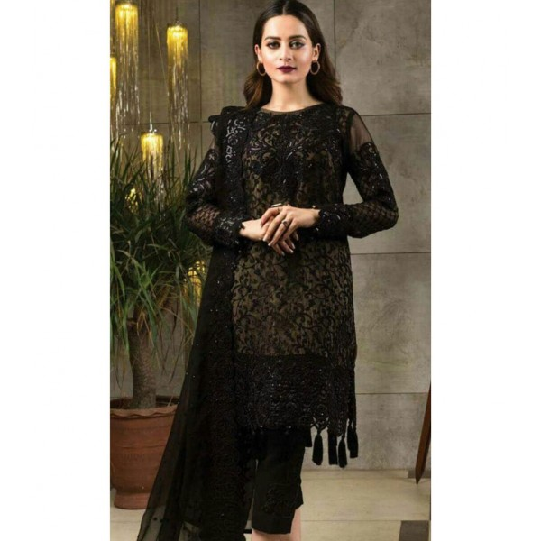 Serene Chiffon Embroidery Ladies Suit - Black AT-LB