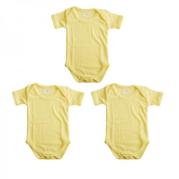 Baby Rompers Unisex - Light Yellow - 3 pcs Set