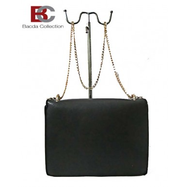 Black Color Long Chain Box Clutch for Her LHB60