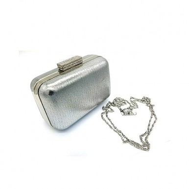 Silver Fancy Clutch Attractive Plain Surface with Chain