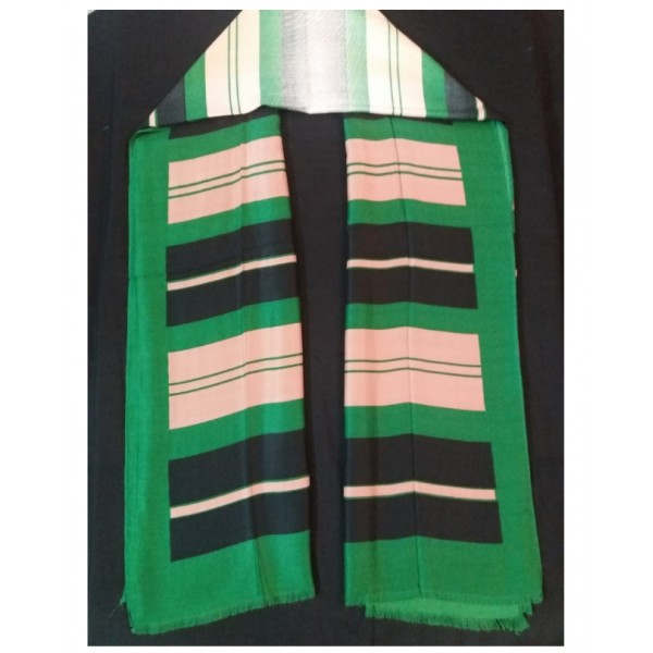 STRIPED GREEN and BLUE SOFT CASHMERE STOLE
