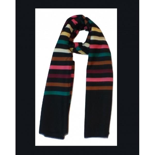 Black Color Stole with Multicolored Stripes