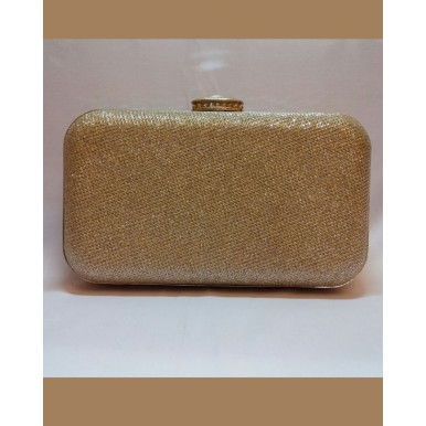 Diamond stone button Golden Fancy Clutch