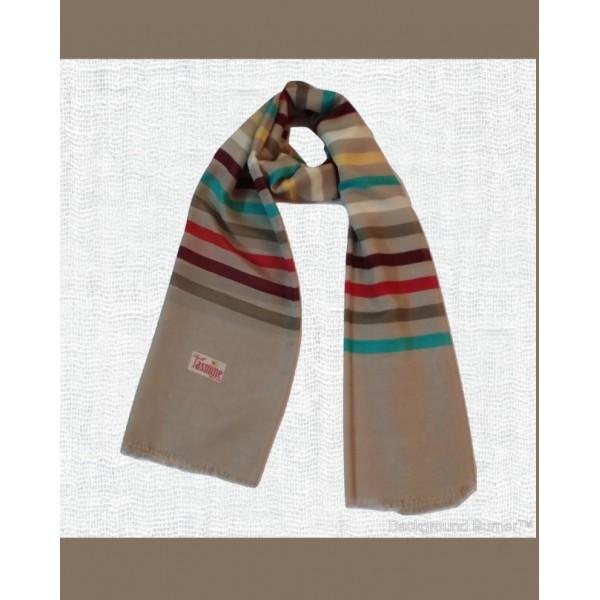 Multicolored-Stripes Stole in Tan Color
