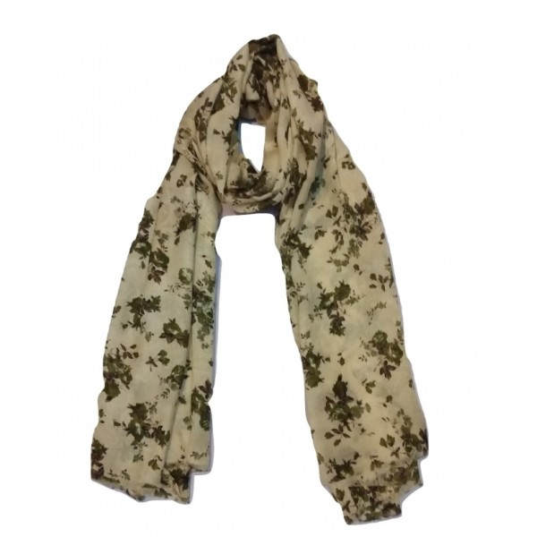 Floral Stole For Women (Brown flowers with Tallow base)